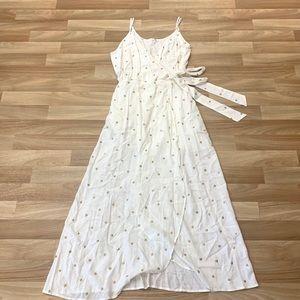 En Creme White Midi Wrap Dress
